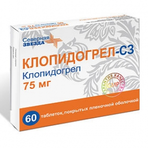 Клопидогрел-СЗ табл.п.п.о. 75мг. №60