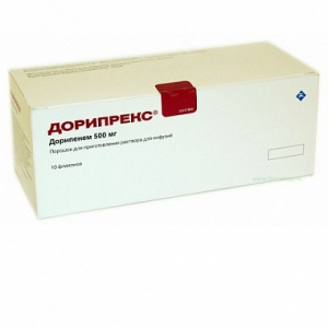Дорипрекс пор. д/приг. р-ра д/инф. фл. 500 мг. №10