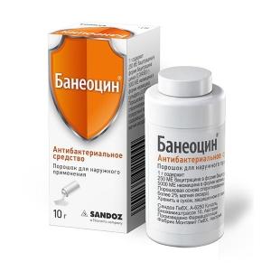 Банеоцин пор. д/наруж. прим. (250МЕ/г + 5000МЕ/г) банка с дозатором 10г