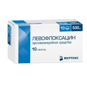 Левофлоксацин-Вертекс табл.п.п.о. 500мг. №10