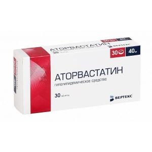 Аторвастатин-Вертекс табл.п.п.о. 40мг. №30