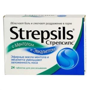 Стрепсилс табл. для рассасывания №24 ментол/эвкалипт