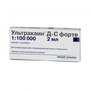 Ультракаин Д-С форте р-р д/ин. 40мг.+0,01мг./мл (1:100000) амп. 2мл. №10
