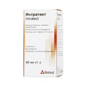 Интратект (иммуноглобулин чел.норм.в/в) р-р д/ин. 5% фл. 20мл.