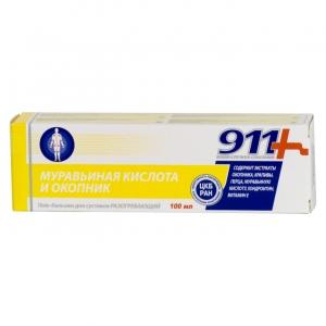 911 Муравьиная кислота и окопник гель-бальзам для суставов 100мл., разогревающий