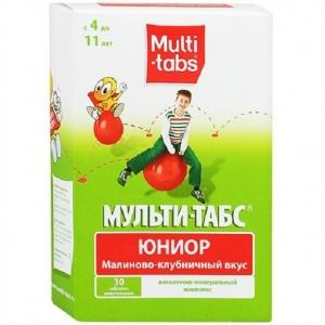 Мульти-табс Юниор табл.жев. №30 (малиново-клубничный вкус)