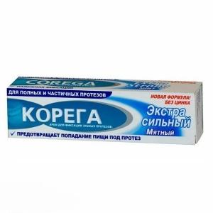 КОРЕГА Крем для зубных протезов фиксирующий 70мл., экстра сильный Мятный вкус