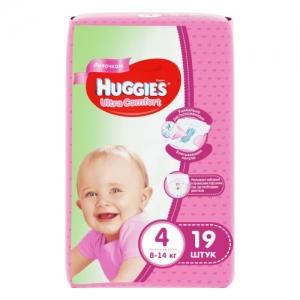 Подгузники детские Хаггис Ультра Комфорт 8-14 кг №19 для девочек
