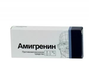 Амигренин табл.п.п.о. 100мг. №6
