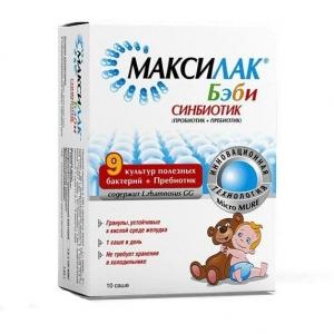 Максилак Бэби, синбиотик (пробиотик + пребиотик) пор. в пакетах-саше 1,5г №10 (БАД)