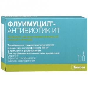 Флуимуцил антибиотик ИТ лиоф. д/приг. р-ра д/ин. и инг. 500мг. фл. №3 с р-рителем